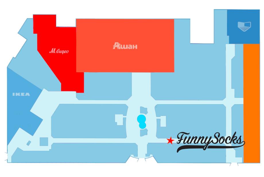 deff8963a80e Корнер цветных носков Funnysocks. Новый магазин цветных носков FunnySocks в ТЦ  Мега ...